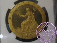 Great Britain 1797 George III gilt-copper Proof Penny NGC PR62 Cameo