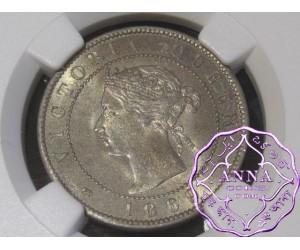 Jamaica 1869 Victoria 1/2 Penny NGC MS65+