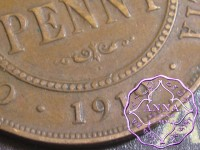 Australia 1919 Penny Dot Below Sroll Average Circulated Condition