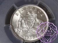 Australia 1936 Sixpence PCGS MS64