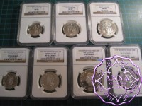 French Polynesia 1979 Piefort Silver Proof 7 Coins Full Set NGC