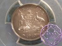 Australia 1910 Sixpence PCGS MS63