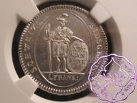 Switzerland 1811 Bern One Franc NGC MS63