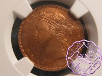 Straits Settlements 1889 Victoria 1/2 Cent NGC MS64RB