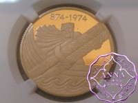 "Iceland 1974 gold Proof ""First Settlement"" 10000 Kronur NGC PR70 Ultra Cameo"