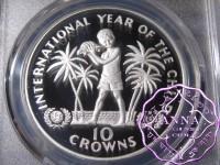 Turks & Caicos 1982 Silver Proof 10 Crowns PCGS PR69DCAM Deep Ultra Cameo