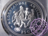 Netherlands Antilles Silver Proof 25 Gulden PCGS PR68DCAM Deep Ultra Cameo