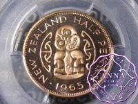NZ 1965 Proofflike Halfpenny PCGS PL67RD