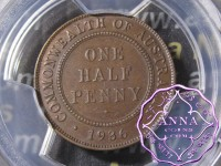 Australia 1936 Halfpenny PCGS MS63BN