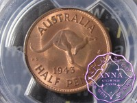 Australia 1943 M Halfpenny PCGS MS64RB