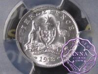 Australia 1918 Threepence PCGS MS61