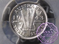 Australia 1943 D Threepence PCGS MS67