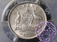 Australia 1936 Sixpence PCGS MS63