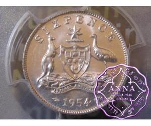 Australia 1954 Sixpence PCGS MS64