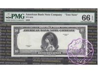 "USA 1929 American Bank Note Company ""10 Units"" Test Note Specimen Series PMG66EPQ"