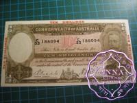 1934 R10 Red Opt Ten Shillings Riddle/Sheehan GXF+