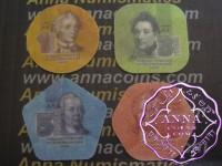 Transnistria 2014 Set of 4 Composite Plastic Coins 1 3 5 10 Roubles UNC