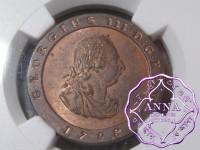 Isle of Man 1798 George III copper Proof 1/2 Penny NGC PR64RB