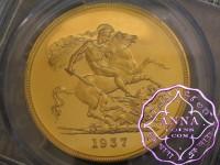 Great Britain 1937 George VI Gold Proof Five Pounds PCGS PR63DCAM