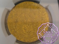 Netherlands 1600-01 Utrecht Provincial Gold Imitative Rose Noble NGC MS61