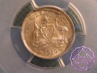 Australia 1910 Threepence PCGS MS65