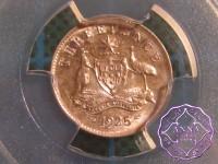 Australia 1925 Threepence PCGS MS62