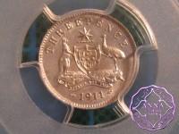 Australia 1911 Threepence PCGS MS62