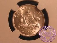 Australia 1910 Threepence NGC MS66