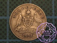 Australia 1924 Threepence Error Die Crack