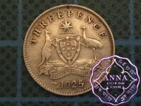 Australia 1925 Threepence Error Die Crack