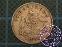 Australia 1934/3 Overdate Threepence