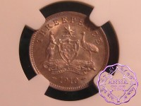 Australia 1910 Edward VII Threepence NGC  MS67