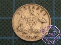 Australia 1943 S Sixpence Average Circulated Condition