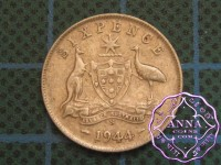 Australia 1944 S Sixpence Average Circulated Condition