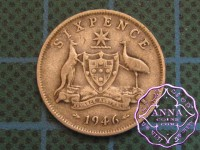 Australia 1946 Sixpence Average Circulated Condition