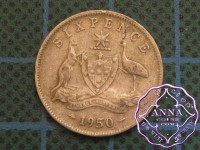 Australia 1948 Sixpence Average Circulated Condition