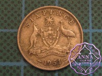 Australia 1951 Sixpence Average Circulated Condition