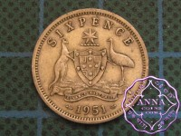 Australia 1951 PL Sixpence Average Circulated Condition