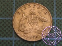 Australia 1954 Sixpence Average Circulated Condition