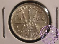 Australia 1964 Threepence EX Mint Roll