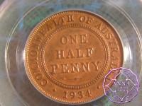 Australia 1934 Halfpenny PCGS MS64RB