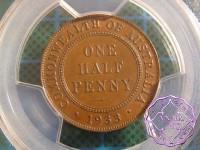 Australia 1933 Halfpenny PCGS MS62BN