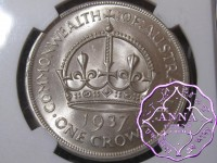 Australia 1937 Crown NGC MS63