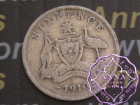 Australia 1910 Sixpence, Average Circulated Condition