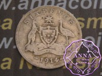 Australia 1914 Sixpence, Average Circulated Condition