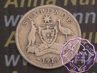 Australia 1919 Sixpence, Average Circulated Condition