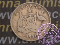 Australia 1920 Sixpence, Average Circulated Condition