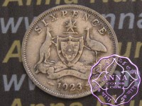 Australia 1923 Sixpence, Average Circulated Condition