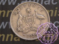 Australia 1925 Sixpence, Average Circulated Condition
