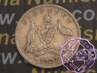 Australia 1927 Sixpence, Average Circulated Condition